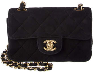 Chanel Black Quilted Suede Micro Square Half Flap Bag