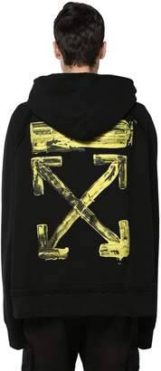Off-White Off White Oversize Printed Cotton Jersey Hoodie