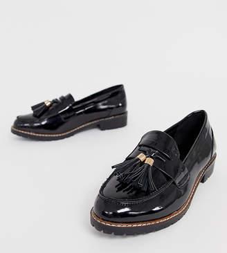 5ee9f8fa024 Raid Wide Fit RAID Wide Fit Maya black patent chunky flat loafers