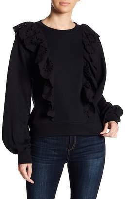 Melrose and Market Eyelet Ruffle Pullover Sweatshirt (Regular & Petite)