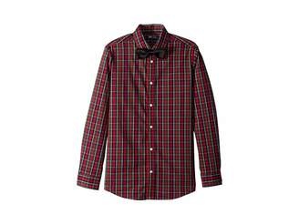 Tommy Hilfiger Stretch Holiday Tartan Shirt with Bowtie (Big Kids)