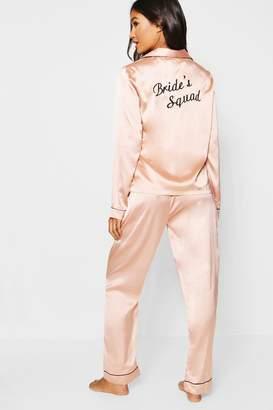 boohoo Brides Squad Satin Trouser Set
