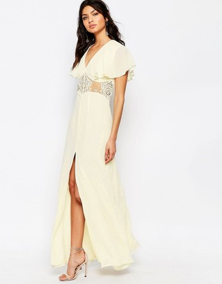 Jarlo Edith Button Front Lace Insert Flutter Sleeve Maxi Dress $138 thestylecure.com