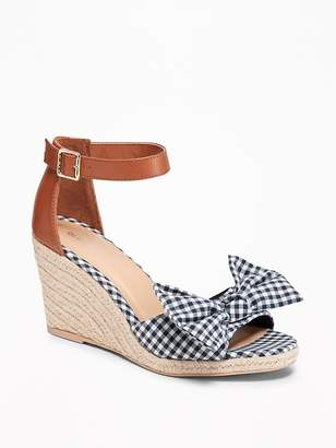 Old Navy Gingham Bow-Tie Espadrille Wedges for Women