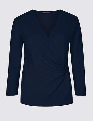 Marks and Spencer Textured V-Neck 3/4 Sleeve Top