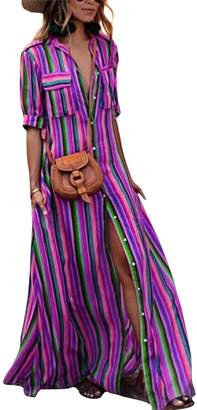 LAMISSCHE Womens Rainbow Button Down Roll up Sleeve Stripes Maxi Dress with Pockets(,L)
