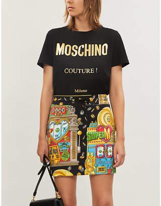 Moschino Slot machine-print cotton-jersey mini skirt
