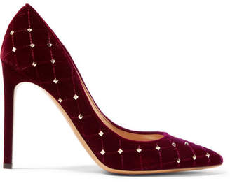 Valentino Garavani Rockstud Spike Quilted Velvet Pumps - Red