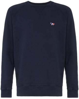 MAISON KITSUNÉ tricolour fox patch cotton sweatshirt