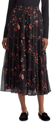 Ralph Lauren Floral Print Tiered Midi Skirt