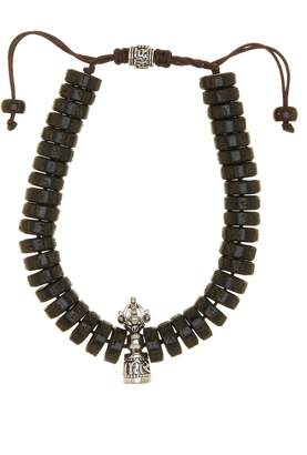 Jean Claude Engraved Flat Disc Wooden Beads & Healing & Power Charm Adjustable Bracelet