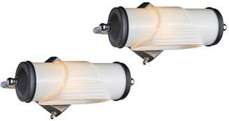 Rejuvenation Pair of Unusual Art Deco Cylinder Sconces