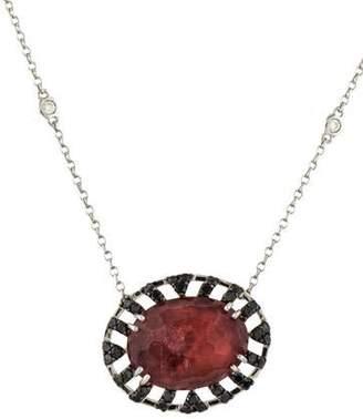 18K Tourmaline & Diamond Pendant Necklace