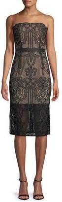 Aijek Strapless Lace Applique Cocktail Dress