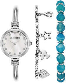 Anne KleinAnne Klein Women's Silvertone Watch and Bracelet Set