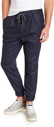 Brunello Cucinelli Men's Wool Two Pinces Pants w\/ Coulisse Waist