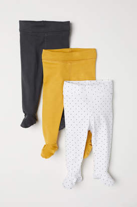 H&M 3-pack Pants with Feet - Yellow
