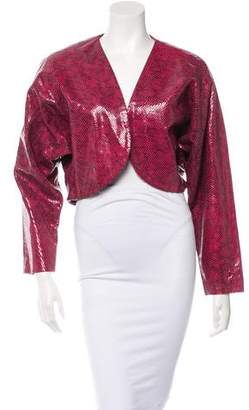 Adrienne Landau Embossed Cropped Jacket