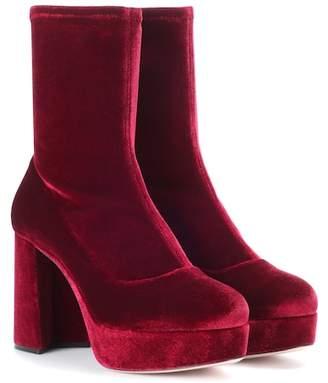 af7c54b2af13 Miu Miu Velvet plateau ankle boots
