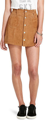 Ralph Lauren Denim & Supply Suede Button-Front Skirt $398 thestylecure.com