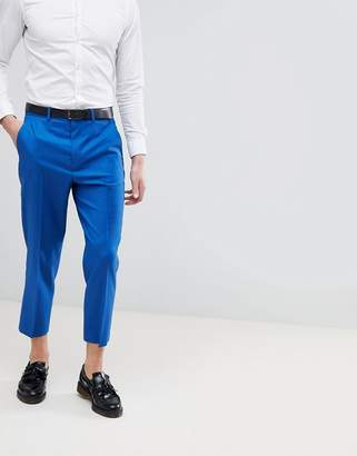 Asos Design DESIGN Wedding Tapered Smart Pants In Bright Blue 100% Wool