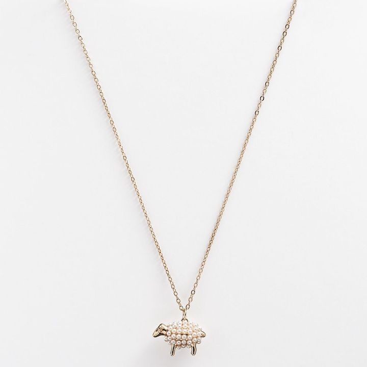 Lauren Conrad gold tone simulated pearl sheep pendant