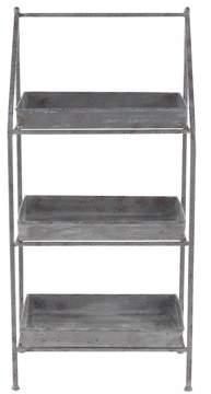 DecMode Decmode Farmhouse 39 X 18 Inch Gray Iron And Zinc Three-Tiered Patio Shelf