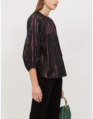 Apiece Apart Isla metallic-striped woven blouse