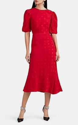 Saloni Women's Annie-B Dot-Jacquard Silk Midi-Dress - Red