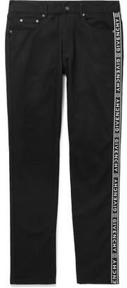 Givenchy Slim-Fit Logo Jacquard-Trimmed Denim Jeans - Men - Black