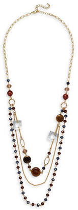 Mother of Pearl GARBO Mother Of Pearl, Agate & Amethyst Station Layered Necklace
