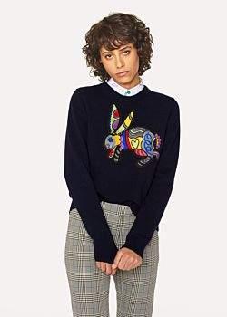Paul Smith Women's Navy Embroidered 'Karami Rabbit' Motif Sweater