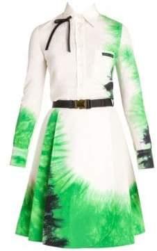 Prada Women's Cotton Poplin Tie-Dye Long Sleeve Shirt - White - Size 38 (2)