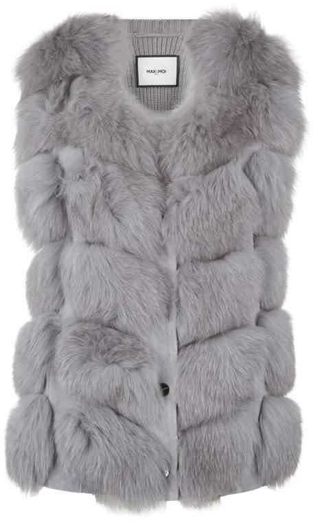 Max & Moi Fur Trim Nostalgique Knitted Gilet