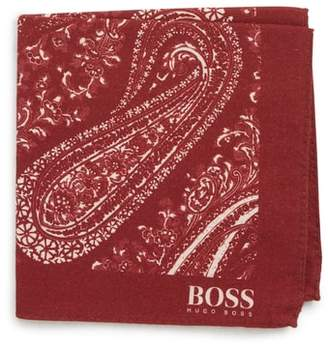 BOSS Paisley Cotton & Wool Pocket Square
