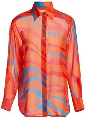 Roberto Cavalli Multicolor Zebra Silk Blouse