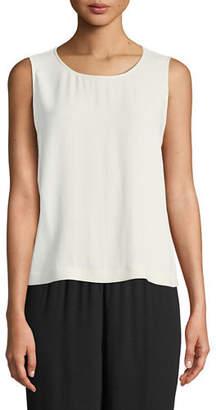 Eileen Fisher Plus Size Sleeveless Short Silk Georgette Shell
