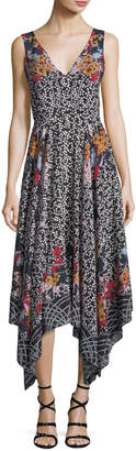 Saloni Zuri V-Neck Sleeveless Printed Silk Dress