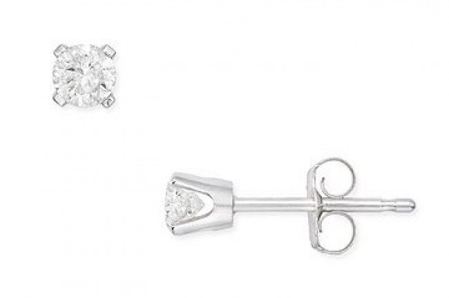 Ice 1/4 CT Diamond 14K White Gold Stud Earrings