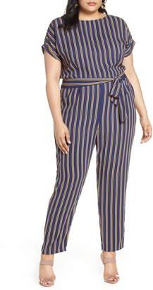 Halogen Stripe Short Sleeve Jumpsuit