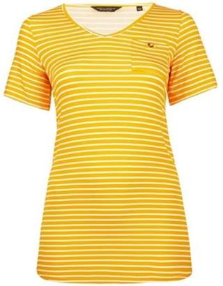 Dorothy Perkins Womens **Dp Curve Yellow And White Striped Pocket T-Shirt