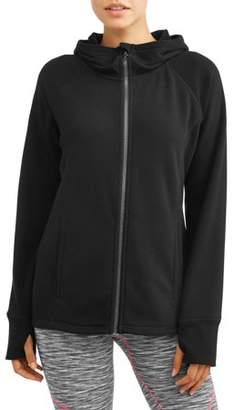 Athletic Works Women's Active Mink Back Full Zip Fleece Hoodie Jacket
