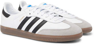 adidas Samba Suede-Trimmed Leather Sneakers - White