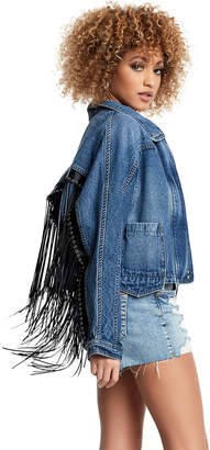 True Religion WOMENS DENIM DOLMAN FRINGE JACKET