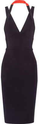 Victoria Beckham - Halterneck Stretch-ponte Dress - Midnight blue
