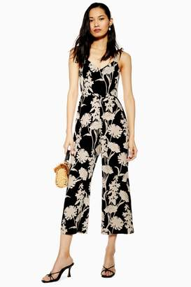 Topshop Womens Tall London Contrast Stencil Floral Jumpsuit - Black