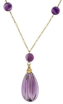 14K Carved Amethyst Art Deco Lavalier Necklace