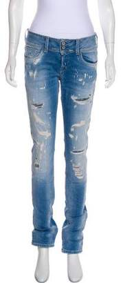 Jeans Distressed Mid-Rise Jeans