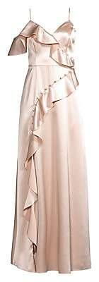 Aidan Mattox Women's Ruffled Satin Gown