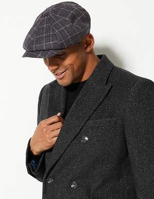 Marks and Spencer Pure Wool Checked Baker Boy Hat